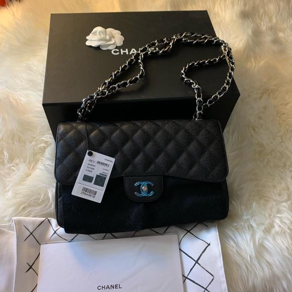 3d457f1f2176 Chanel Caviar Jumbo Classic Flap Bag Black